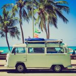vw camper at the beach