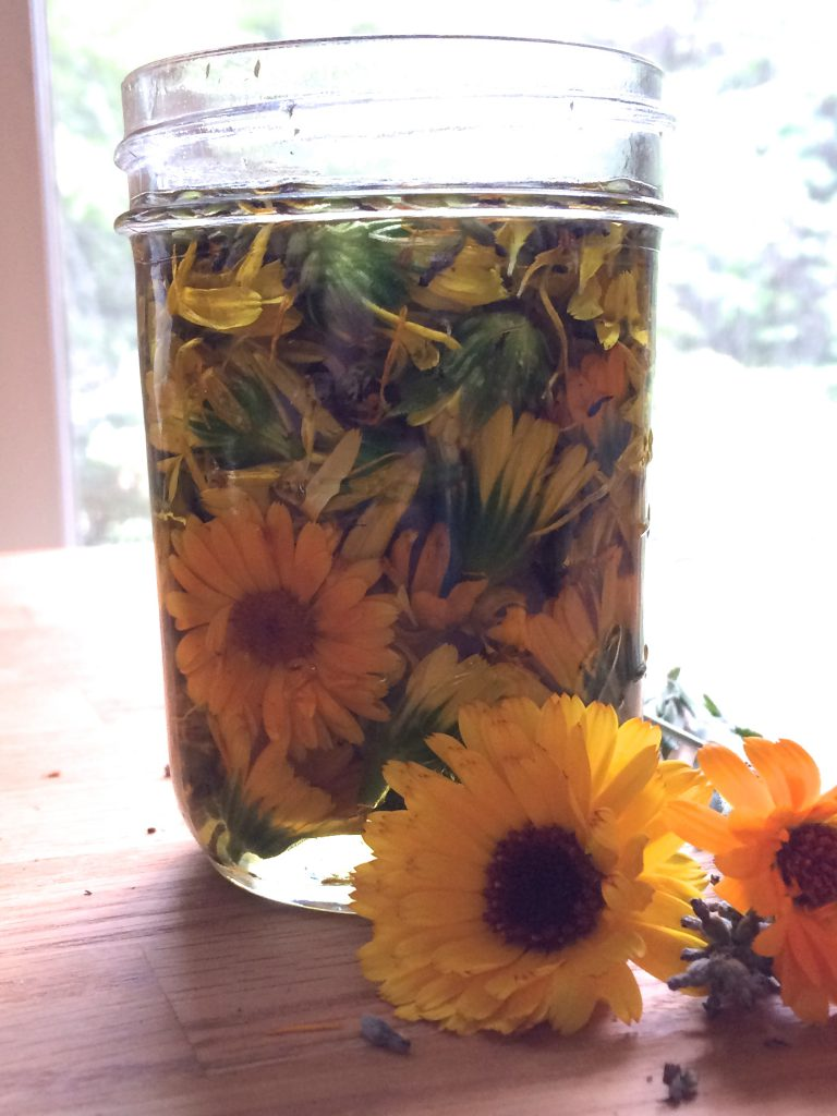calendula flowers in a jar